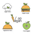 go vegan icons set vector image