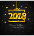 golden gift box 2018 new year vector image vector image