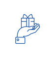 hand with gift line icon concept hand with gift vector image vector image