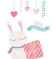 happy valentines day cute bunny with striped gift vector image