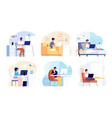 home office work from house busy woman man vector image vector image