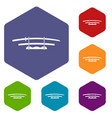 katana japanese sword icons set hexagon vector image vector image