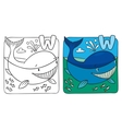Little whale coloring book Alphabet W vector image