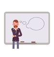 Man against the whiteboard with drawn dialogue vector image vector image