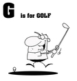 Man playing golf with letter cartoon vector image