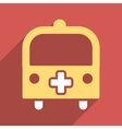 Medical Bus Flat Square Icon with Long Shadow vector image vector image