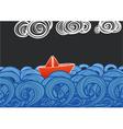 paper ship floating on blue waves vector image