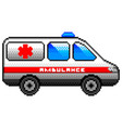 pixel ambulance car detailed isolated vector image