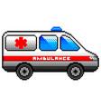Pixel ambulance car detailed isolated