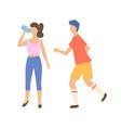runners in sportswear healthy activity vector image vector image