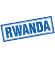 Rwanda blue square grunge stamp on white vector image vector image