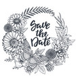 Save the date card with hand drawn flowers leaves