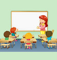 scene with teacher coughing in classroom vector image vector image