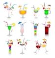 set cocktails on white background vector image
