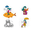 set with cute autumn pictures october postcards vector image vector image