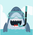 shark swimming with diving equipment vector image vector image