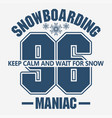 snowboarding winter sport emblem t-shirt fashion vector image