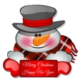 Snowman isolated closeup with a greeting card vector image
