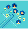 social network people team connections in flat art vector image vector image