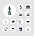 summer icons set with swimming mask starfish sea vector image vector image
