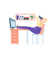 tired business character sleeping in the office vector image