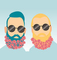 two young bearded men with flowers in their beards vector image vector image