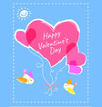valentines day postcard with hearts and birds vector image vector image