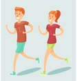 Young couple running outdoor flat style vector image vector image