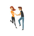 young man and woman characters dancing happy vector image vector image