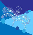 Dragonfly white graphic on blue background vector image