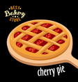 cherry pie mesh on the board baked bread vector image