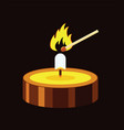 a small burning candle and match vector image