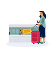 baggage claim woman with luggage in airport vector image vector image