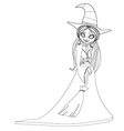 beautiful doodle little witch vector image