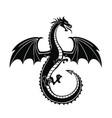 black silhouette dragon vector image