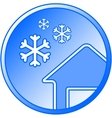 blue winter icon with snow and house vector image
