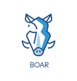 boar logo design blue label badge or emblem with vector image