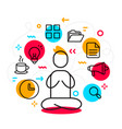 business of man meditating in lotus pose with vector image