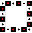 card suits red black white chess board border vector image