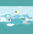 cartoon north pole arctic landscape vector image vector image