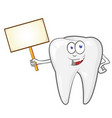cartoon tooth with signboard clip art vector image vector image