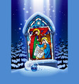 christmas stained glass window in winter forest vector image vector image