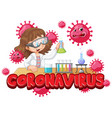 coronavirus poster design with girl in science lab vector image vector image