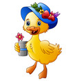 cute cartoon duck with blue hat vector image