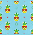 cute pineapples with heart glasses pattern on blue vector image vector image
