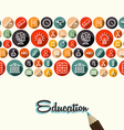 Education flat icons seamless pattern background vector image vector image