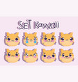 emojis kawaii cartoon faces cat cute animal vector image vector image