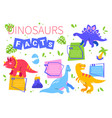 facts about dinosaurs - flat design style poster vector image