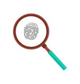 fingerprint magnifying glass icon isolated vector image vector image