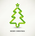 Folded paper Christmas green tree vector image vector image